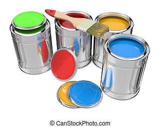 Group of Colorful Paint Cans with Paintbrush. Isolated on...