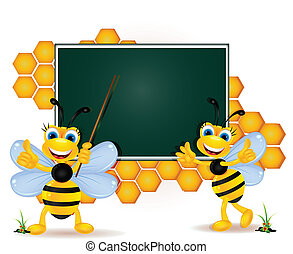 happy bee cartoon with blank board - vector illustration of...