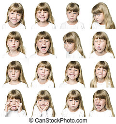 Young girl collage - Collage of a young girl isolated on...