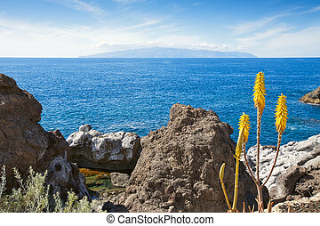 View of La Gomera from Tenerife. Canary Islands, Spain -...