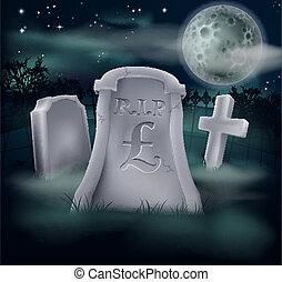 Pound Sterling grave concept - A grave in a graveyard with...