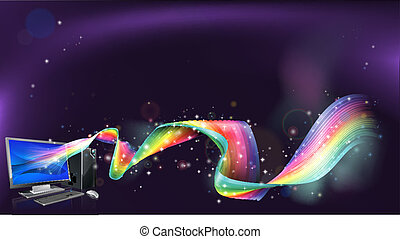 Computer rainbow background - An abstract background with...