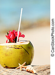 coconuts on the beach - Coconut with drinking straw on a...