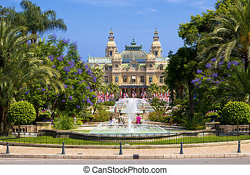 Casino, Monte Carlo, Monaco - Garden and fountains near the...