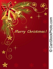 Christmas bells with ribbon on red background
