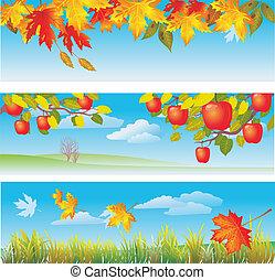 Three autumn banners
