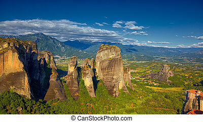 Rock formations at Meteora - Rock formations and landscape...