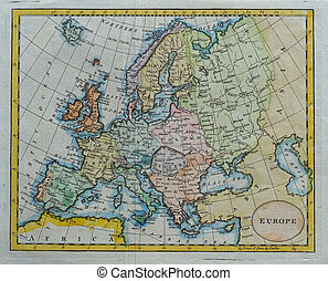 original antique europe map - vintage colored europe map...