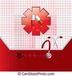 Abstract medical background - Abstract red medical...