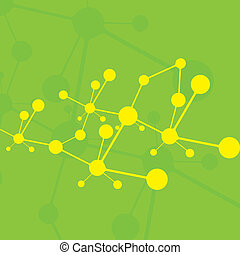 Molecule green background yellow molecules