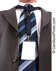men with his id card on long  leash