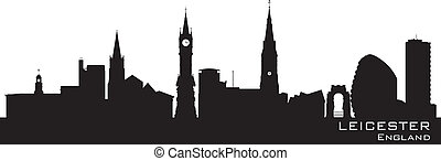 Leicester, England skyline. Detailed silhouette