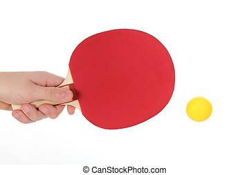 Table tennis racketwith orange ball, isolated on white...