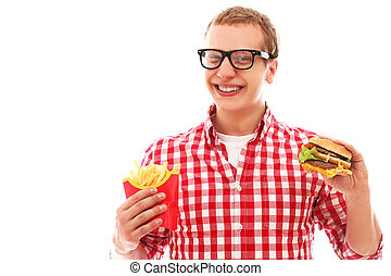 Funny man with french fries and hamburger - Funny man in...