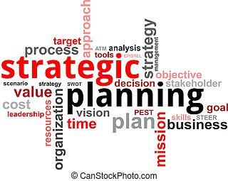 palabra, planificación,  -, nube, estratégico