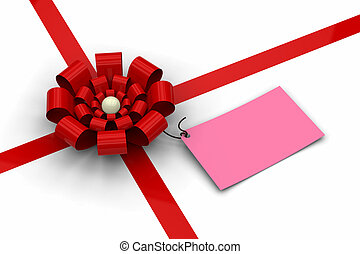 Red bow with blank pink tag
