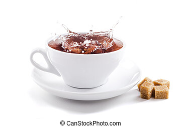 fresh healthy tea splash in a tea-cup