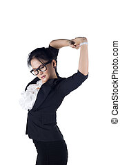 Tired business woman stretching, isolated on whtie...