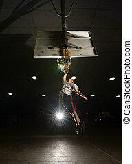Jumping Basketball player - Basket and basektball player...