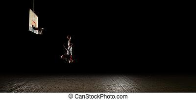 Noche, baloncesto, jugador