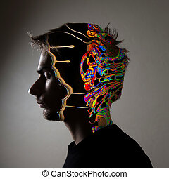 Conceptual image of a human face - Conceptual side profile...
