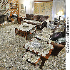 Sitting room filled with money - A sitting room where all...