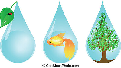 Environmentally Friendly Water Drop - Vector illustration of...
