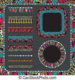 Colorful ethnicity collection ornamental stripes and frames.