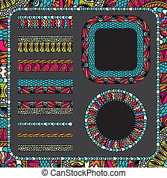 ornamental, coloridos, listras, cobrança, bordas, etnicidade