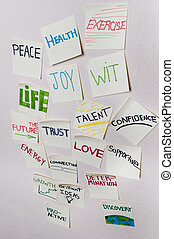 Positive sticky notes - Health, peace, exercise, joy, wit,...