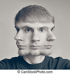 Conceptual photo of a guy with three heads - Concept image...