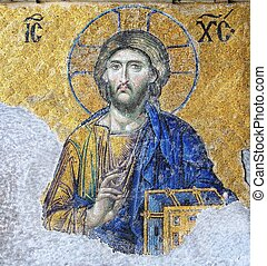 Mosaic of Jesus Christ found in the old church of Hagia...