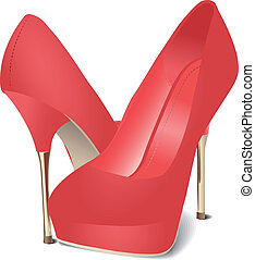 Red Satin Shoes - Illustration of red satin fashion shoes.