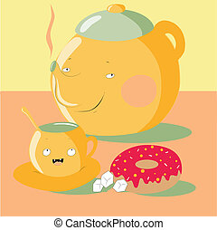 Tea Party - Vector illustration of a cartoon teapot with a...