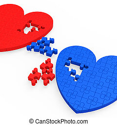 Two 3D Hearts Showing Love Partners And Relationships