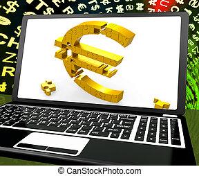 Euro Symbol On Laptop Shows Ecommerce