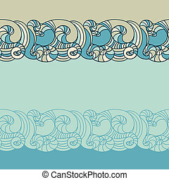 Seamless wave hand drawn pattern. Abstract background.