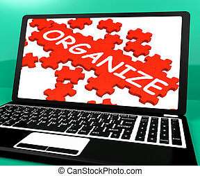 Organize Puzzle On Notebook Shows Files Management And...