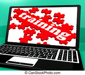Training Puzzle On Notebook Shows Webinars And Online...