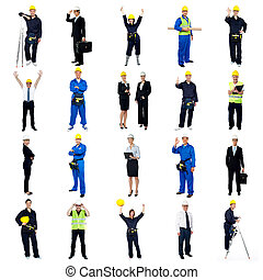 Collection of construction workers. All on white background.
