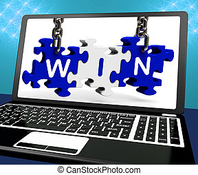 Win On Laptop Shows Online Gaming Champion