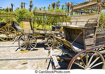 old historic stage wagons at the ranch