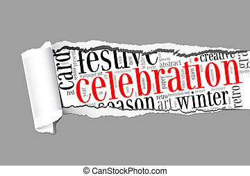 Celebration info-text graphics and arrangement concept  (word cloud) on paper torn.