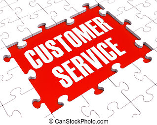 Customer Service Puzzle Showing Support And Assistance -...
