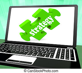 Strategy On Laptop Showing Online Solutions