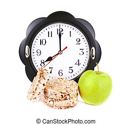 dietetic loaves with green apple and watches at 8 o'clock -...