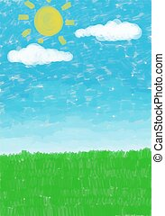 sky grass background - digital watercolour paint sky and...
