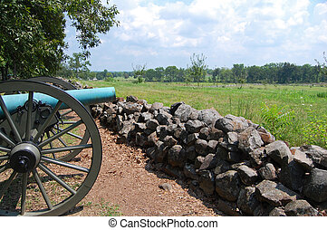 Gettysburg Cannon - Cannon and stone wall overlooking...