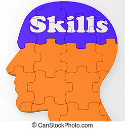 Skills Brain Shows Abilities Competence And Training -...