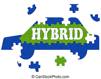 Hybrid Car Means Electric Eco-friendly Automobile - Hybrid...
